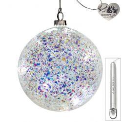 LED Weihnachtskugel aus Glas 12 cm Foil