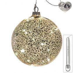 LED Weihnachtskugel aus Glas 12 cm Antique