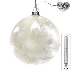 LED Weihnachtskugel aus Glas 12 cm Frost