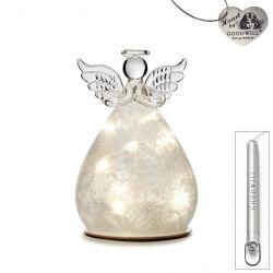 LED Deko-Engel aus Glas 12 cm Frost