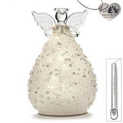 LED Deko-Engel aus Glas 15 cm Jewel