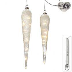 2er-Set LED Deko-Tropfen aus Glas 30 cm Frost