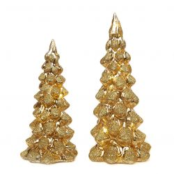 2er-Set LED Weihnachtsbäume aus Glas 25 cm | Gold