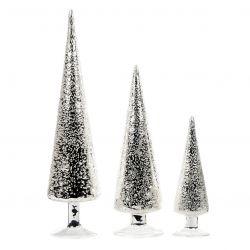 3er-Set Kegelbäumen | Glas | Silber