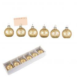 Weihnachtskugeln H 6 cm | 6er-Set | Gold