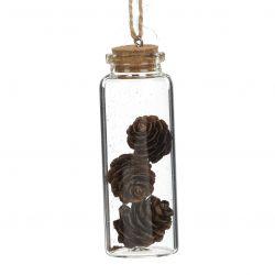 Glasflasche mit Pinienzapfen | 8 cm | Transparent