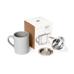 Tasse mit Filter und dazu passendem Deckel | Grau