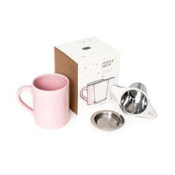 Tasse mit Filter und dazu passendem Deckel | Rosa