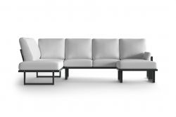 Large Outdoor Modular Corner Sofa with Detachable Poufs Angie | Anthracite & White