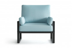 Outdoor Armchair Angie | Anthracite & Light Blue