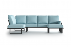 Large Outdoor Modular Corner Sofa with Detachable Poufs Angie | Anthracite & Light Blue
