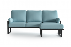 Outdoor Corner Sofa with Detachable Pouf Angie | Anthracite & Light Blue