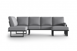 Large Outdoor Modular Corner Sofa with Detachable Poufs Angie | Anthracite & Grey