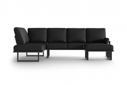 Large Outdoor Modular Corner Sofa with Detachable Poufs Angie | Anthracite & Dark Grey