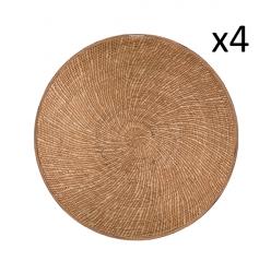Round Vinyl Placemat Reed Set of 4