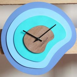 Palette Clock | Wood/Blue