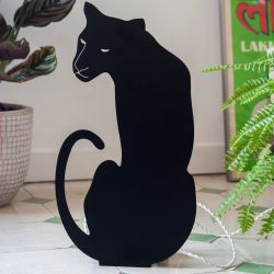 Decoupage-lamp Panter | Zwart