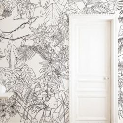 Tapete Dschungel Tropisch Schwarz-Weiß | Panorama
