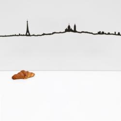 Wanddekoration Pariser Skyline Groß | Schwarz