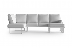 Large Outdoor Modular Corner Sofa with Detachable Poufs Angie | White