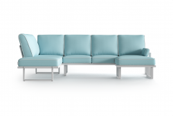 Large Outdoor Modular Corner Sofa with Detachable Poufs Angie | Light Blue