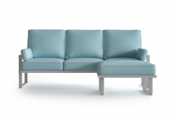 Outdoor Corner Sofa with Detachable Pouf Angie | Light Blue