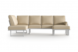 Large Outdoor Modular Corner Sofa with Detachable Poufs Angie | Beige