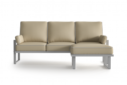 Outdoor Corner Sofa with Detachable Pouf Angie | Beige