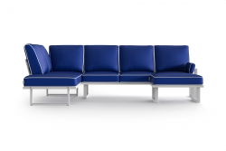 Large Outdoor Modular Corner Sofa with Detachable Poufs Angie | Blue