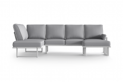 Large Outdoor Modular Corner Sofa with Detachable Poufs Angie | Grey