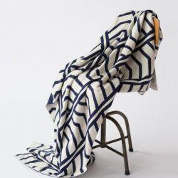 Graphic  Blanket |  Dark Blue and White
