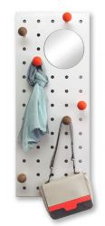 Peg-it-all Storage Panel w/ Mirror | Natural/Orange