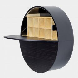 Desk Pill | Black / Dark Ebony Veneer