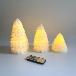Set of 3 LED Pine Tree Wax Candles