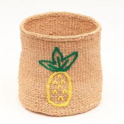 Embroidered Storage Basket | Pineapple