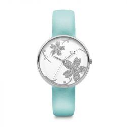 Frauen-Uhr Pilstil 36 Leder | Silver/W/eiß/Turquoise