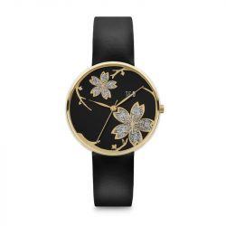 Frauen-Uhr Pilstil 36 Leder | Gold/Schwarz