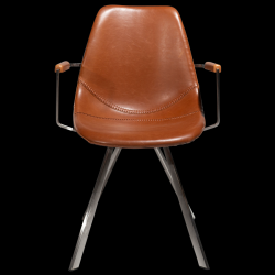 Armchair PITCH | Vintage Light Brown Leather - Steel Legs