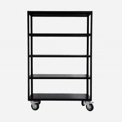Shelving Unit With 4 Wheels Trolley | Matt Black