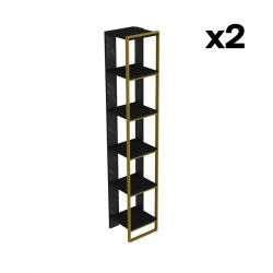 Bookshelf Polka 2 | Black / Gold