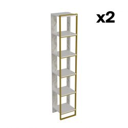 Bookshelf Polka 2 | White / Gold