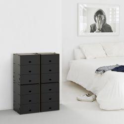 Einseitige dreifache Fächer Box Pop 30x36.5x43.5 cm | Schwarz