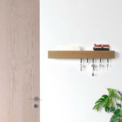 Wall Key Holder Rail | Light Oak