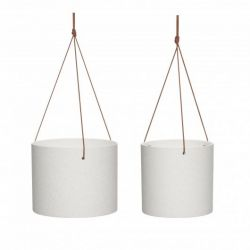 Ceramic Pot + Leather Strap | Set of 2 | White