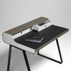 PS 10 Essence Secretary Table | White/Black/Taupe