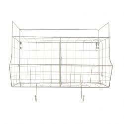 Kitchen Wall Rack Basket | White