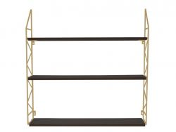 Wall Rack Zig Zag | Gold w. Black Shelves