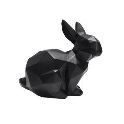 Origami-Statue | Sitzender Hase | Schwarz