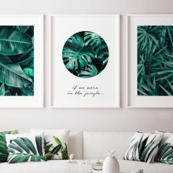 3er-Set Gerahmte Leinwand | Tropische Komposition