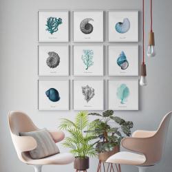 Gerahmte Leinwand | 9er-Set | Blaue Korallen Komposition